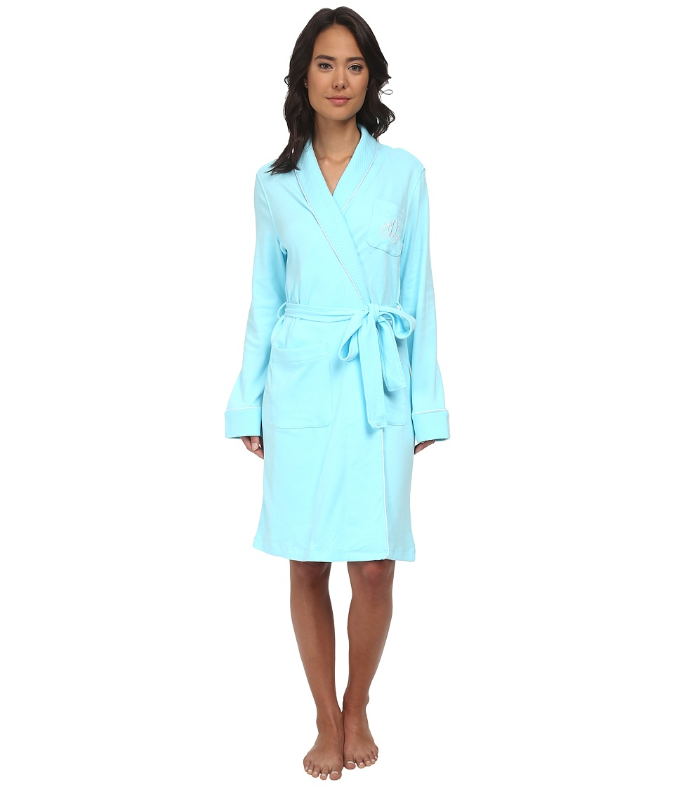LAUREN Ralph Lauren - Essentials Quilted Collar and Cuff Robe (Garden Turquoise) Women's Robe