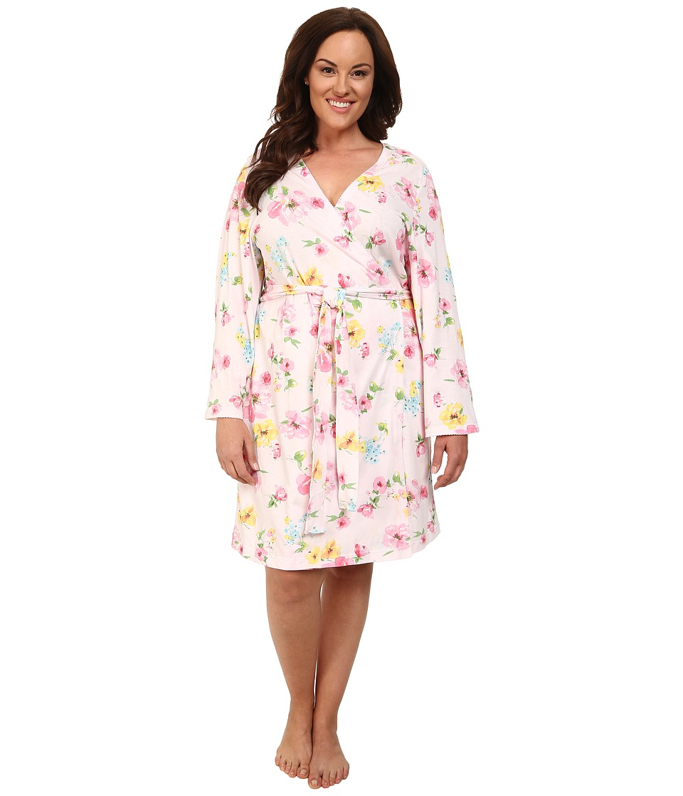 LAUREN by Ralph Lauren - Plus Size Garden Party Short Wrap Robe (Pierson Floral Pink) Women