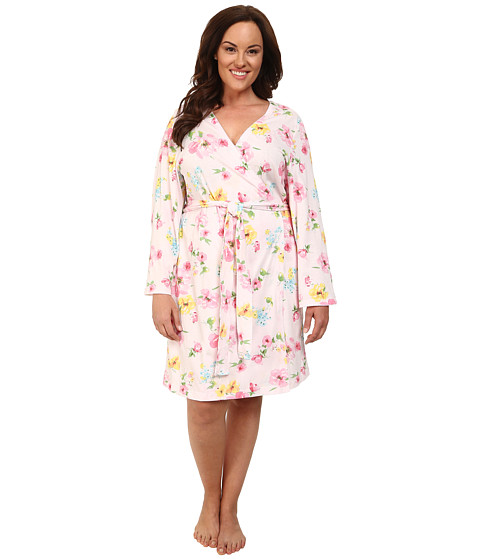 LAUREN by Ralph Lauren - Plus Size Garden Party Short Wrap Robe (Pierson Floral Pink) Women's Robe