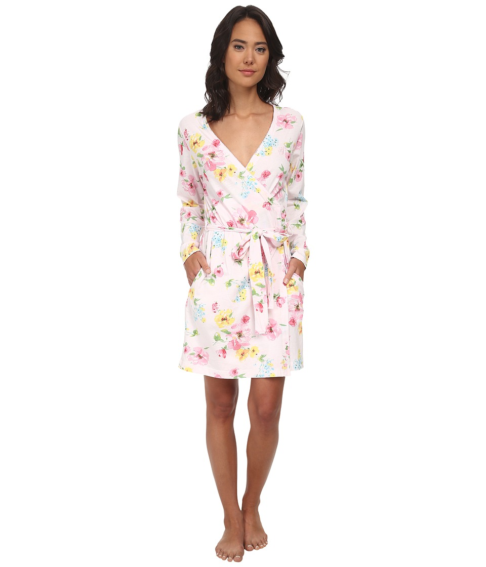 LAUREN by Ralph Lauren - Garden Party Short Wrap Robe (Pierson Floral Pink) Women