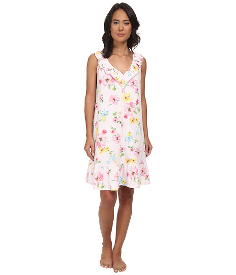 LAUREN by Ralph Lauren - Garden Party Short Gown w/ Ruffle Flounce (Pierson Floral Pink) Women's Pajama