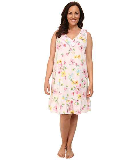 LAUREN by Ralph Lauren - Plus Size Garden Party Short Gown w/ Ruffle Flounce (Pierson Floral Pink) Women's Pajama