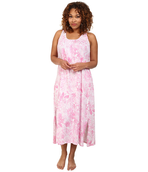 LAUREN by Ralph Lauren - Plus Size Goa Long Gown w/ Scoop Neck (Rambagh Floral White/Pink) Women's Pajama