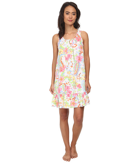 LAUREN by Ralph Lauren - Goa Paisley Print Short Gown (Princess Paisley White Multi) Women's Pajama