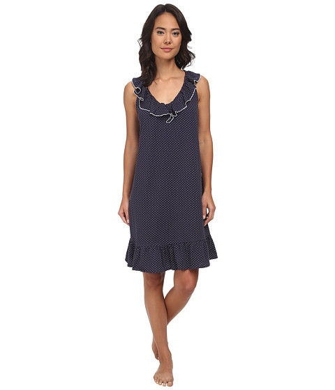 LAUREN by Ralph Lauren - Essentials Ruffle Short Gown (Madeleine Dot Windsor Navy/White) Women's Pajama