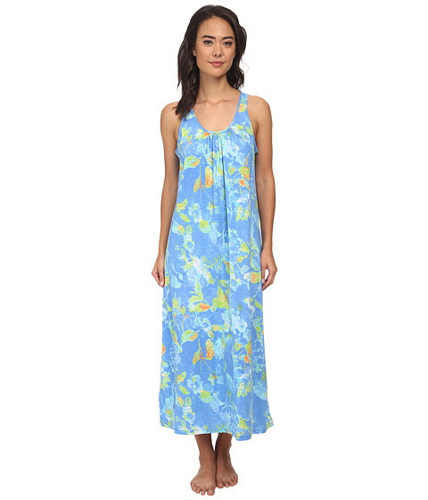 LAUREN by Ralph Lauren - Goa Long Gown w/ Scoop Neck (Jasmin Floral Blue/Green) Women's Pajama
