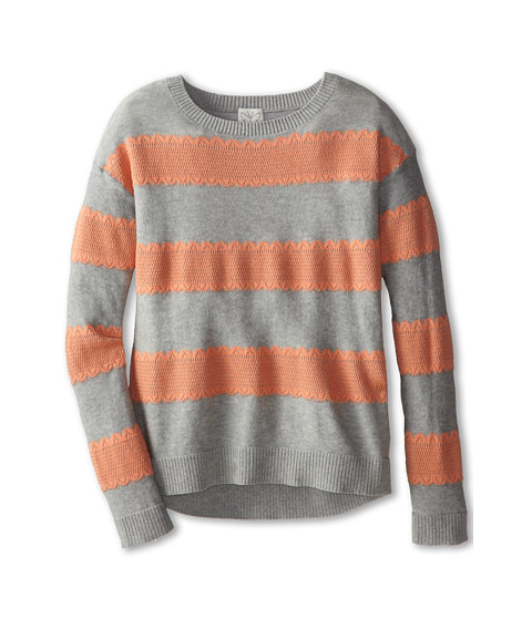 Ella Moss Girl - Iris Sweater with Stripe (Big Kids) (Grey Heather) Girl's Sweater
