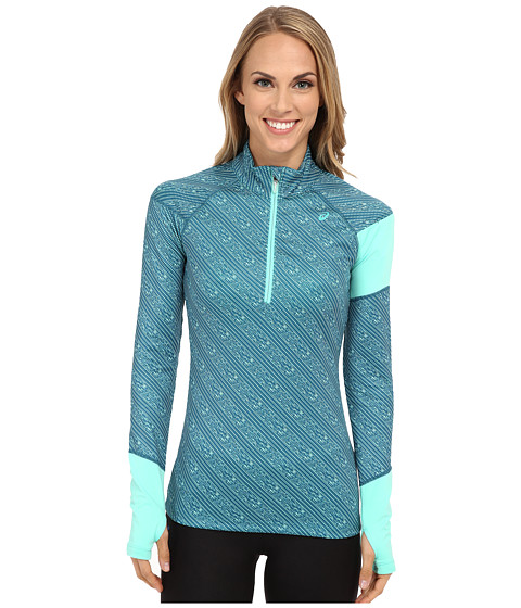 ASICS - Thermopolis 1/2 Zip Stripe (Mosaic Blue Stripe/Aqua Mint) Women's Workout