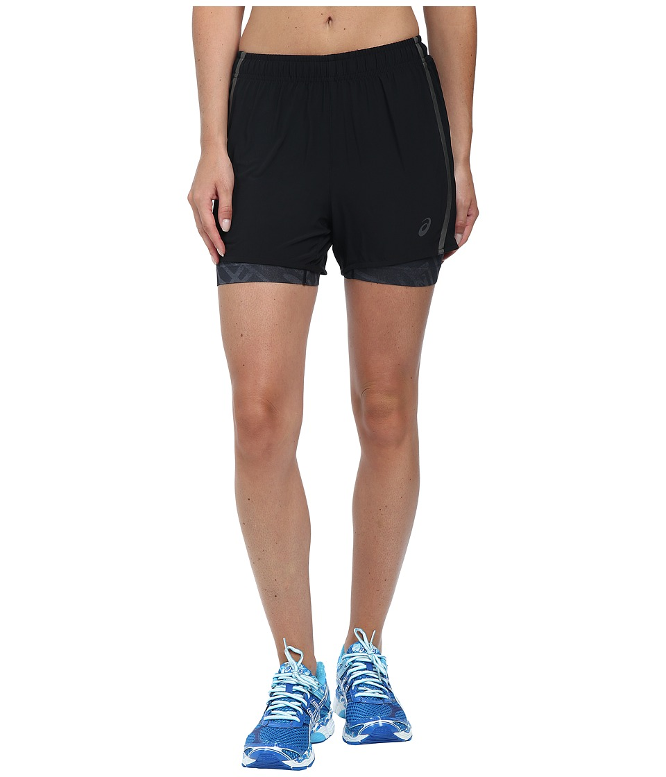 ASICS - Lite-Show 3-N-1 Woven Short 4 (Black Palm) Women's Workout