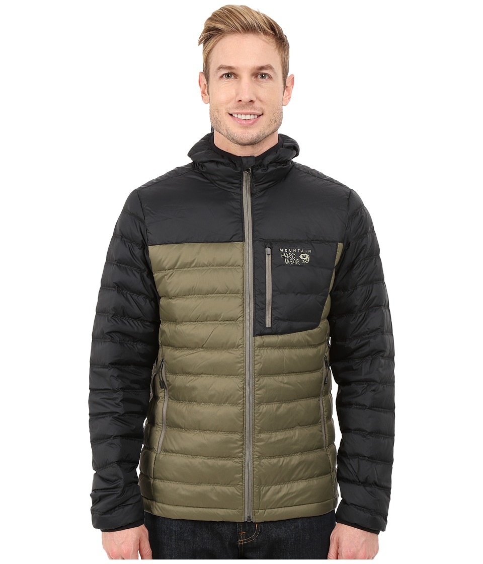 Mountain Hardwear - Dynotherm Hooded Down Jacket (Stone Green/Black) Men's Coat
