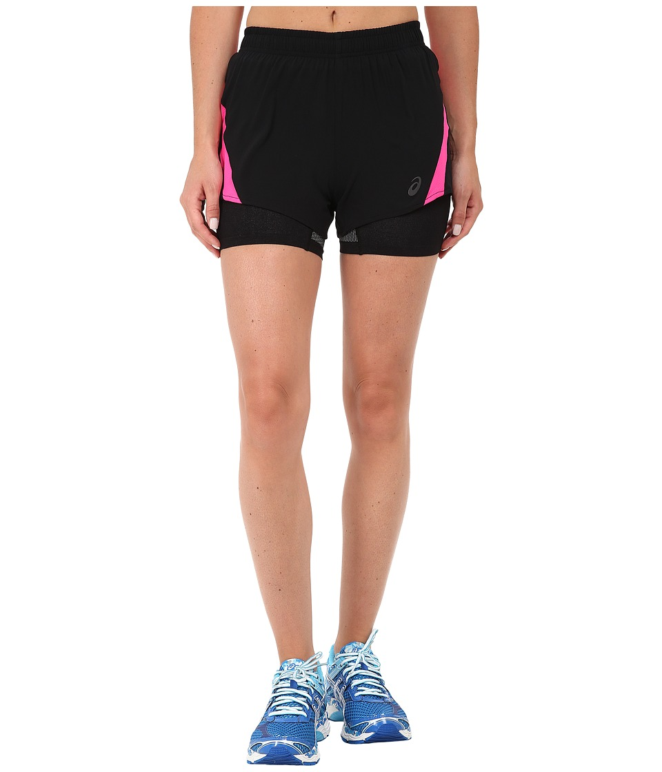 ASICS - 2-N-1 Woven Short 3 (Performance Black/Pink Glow) Women's Workout