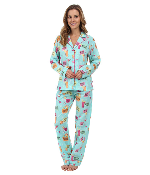 P.J. Salvage - Cocktail Print PJ Set (Aqua) Women's Pajama Sets