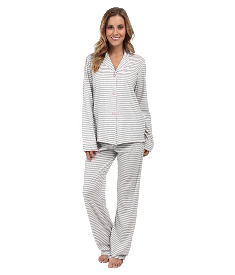 P.J. Salvage - Grey/White Stripe PJ Set (Heather Grey) Women's Pajama Sets