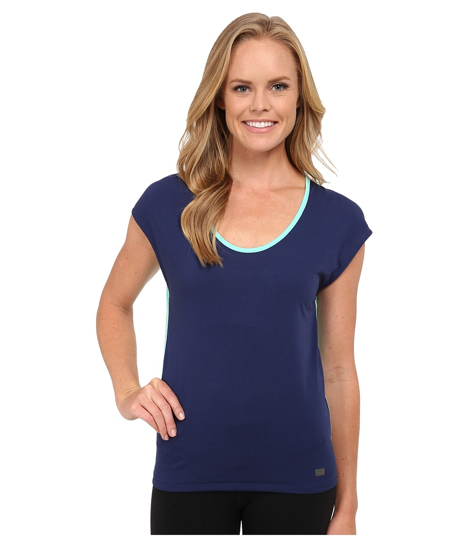 ASICS - Studio Fit Sana Reversible Short Sleeve Top (Aqua Mint/Indigo Blue) Women