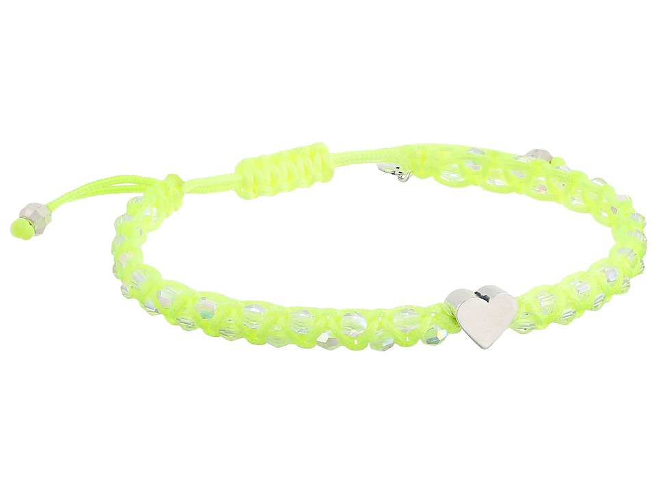 Chan Luu - Adjustable Single w/ Heart Charm (Crystal AB/Sunny Lime) Bracelet