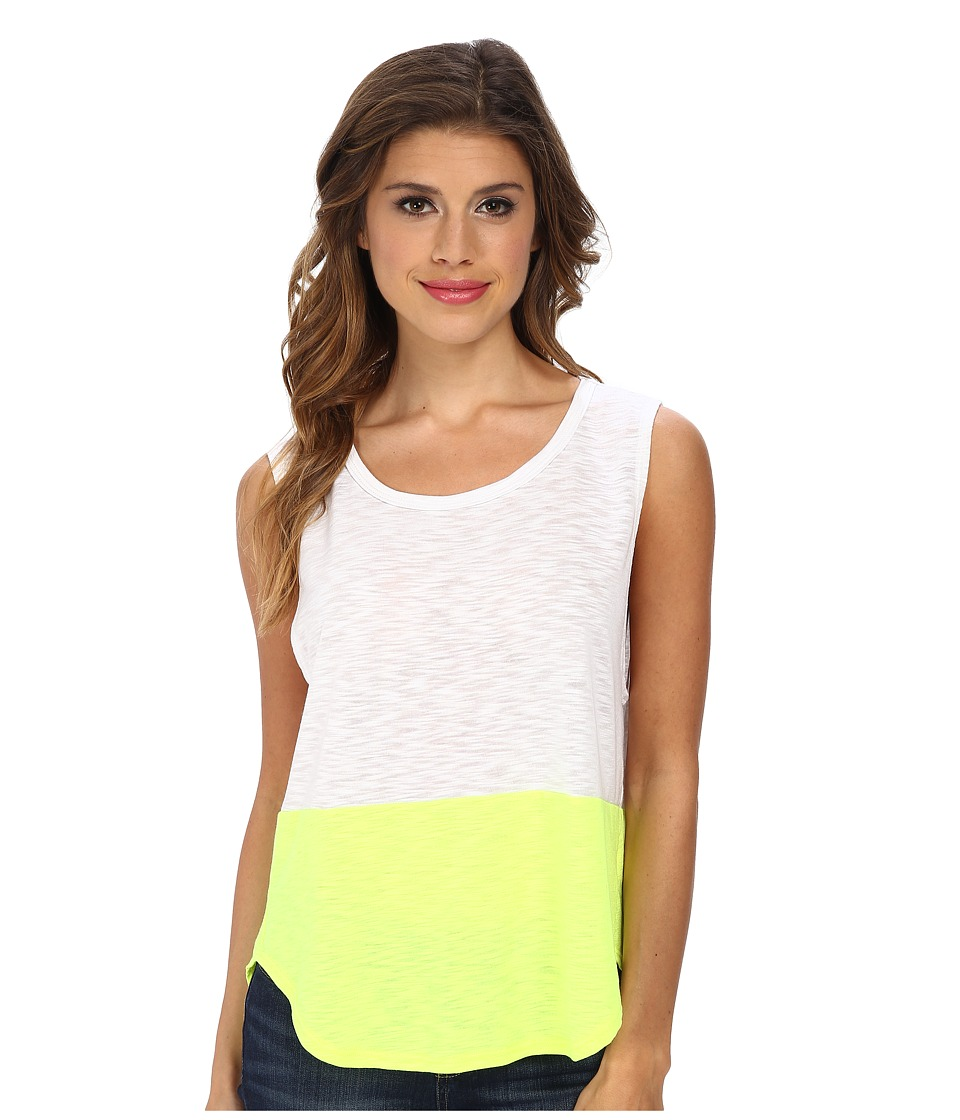 LNA - Color Block Anja Tank Top (White/Highlighter) Women's Sleeveless