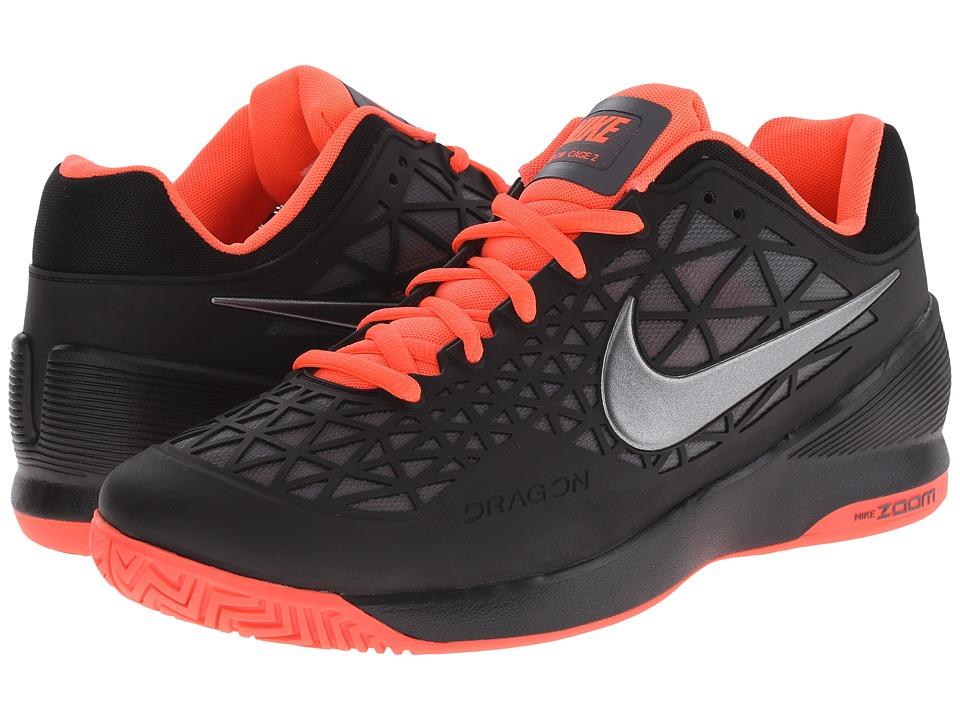 Nike - Zoom Cage 2 (Black/Hot Lava/Metallic Dark Grey) Men's Tennis Shoes