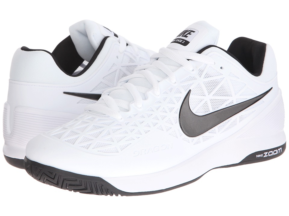 Nike - Zoom Cage 2 (White/Cool Grey/Black) Men's Tennis Shoes
