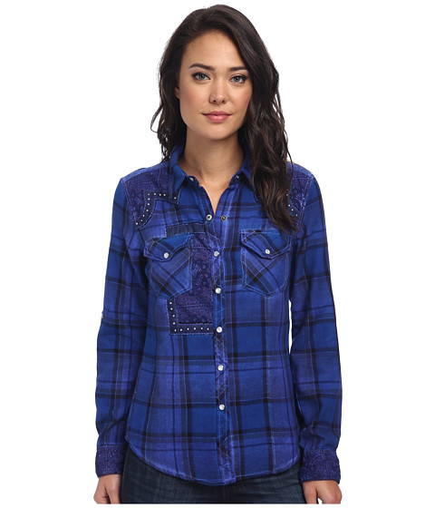 Affliction - Canter Long Sleeve Woven (Pacific Blue) Women