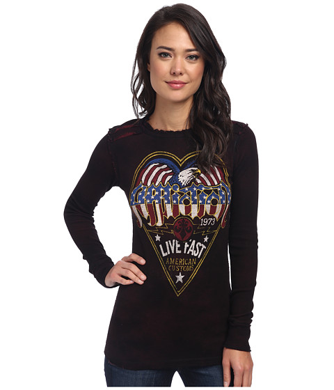 Affliction - AC Barracks Reversible Thermal (Black Burgandy) Women's Clothing