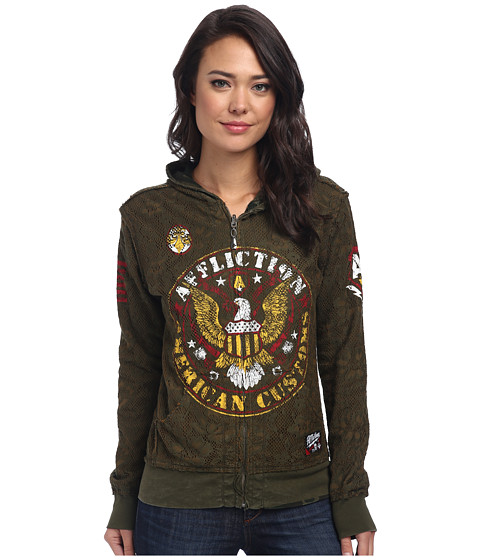 Affliction - Highway Patrol Reversible Zip Hoodie (Military Green) Women's Sweatshirt