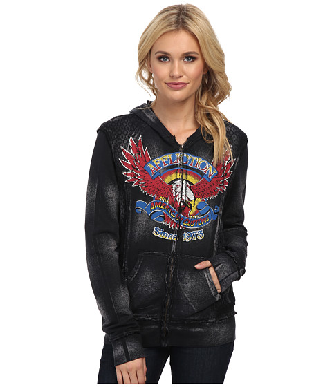 Affliction - AC Eagle Clutch Long Sleeve Zip Hoodie (Black Brush) Women