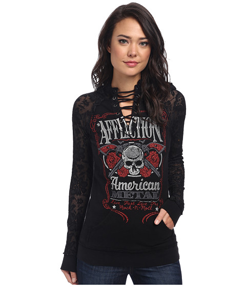 Affliction - Bottle Service Long Sleeve Hoodie (Black) Women