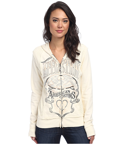 Affliction - Cask Strength Long Sleeve Zip Hoodie (Cream) Women's Sweatshirt