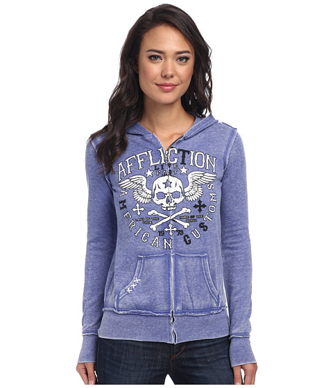Affliction - Creeps Burnout Zip Hoodie (Electric Blue) Women