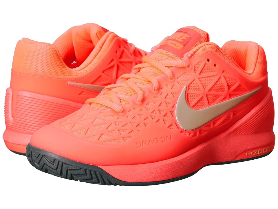 Nike - Zoom Cage 2 (Hot Lava/Cool Grey/Metallic Gold Star) Women