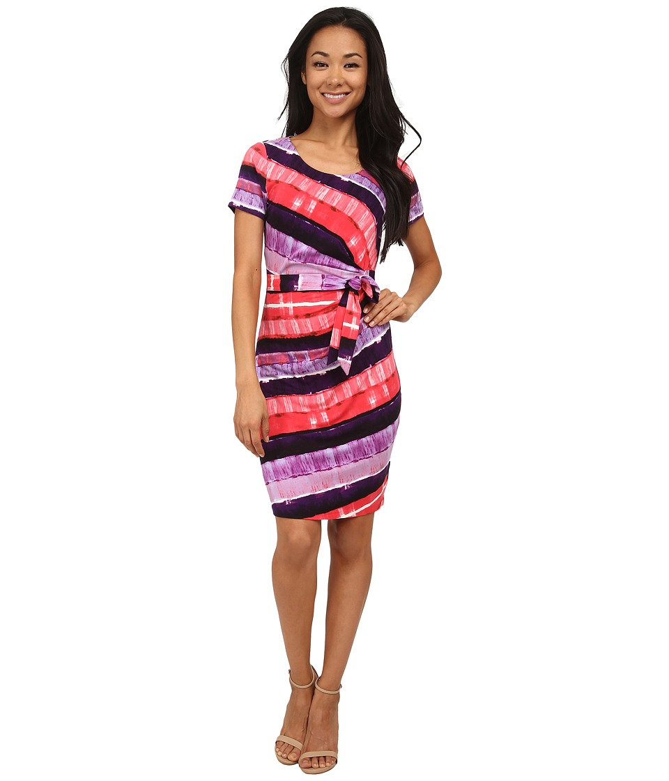 NYDJ - Gabriella Printed Stripe Wrap Dress (Peony) Women's Dress