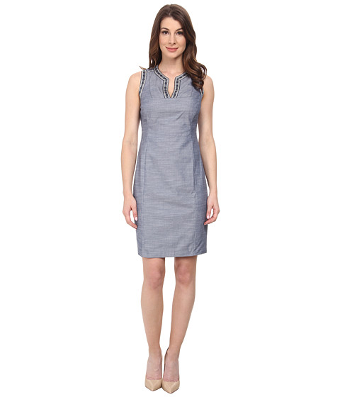 NYDJ - Colleen Novelty Ribbon Shift (Denim) Women's Dress