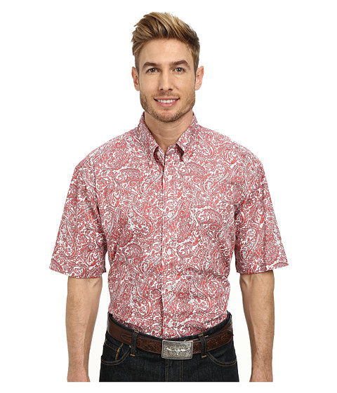 Roper - 9771 Coral Paisley (Orange) Men's Clothing