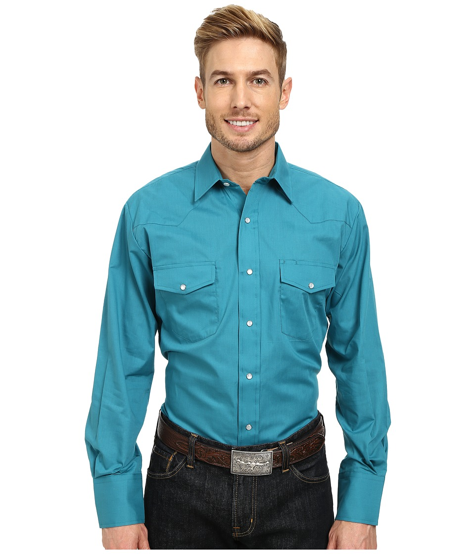 Roper - 9844C1 Solid Broadcloth (Green) Men's Long Sleeve Button Up
