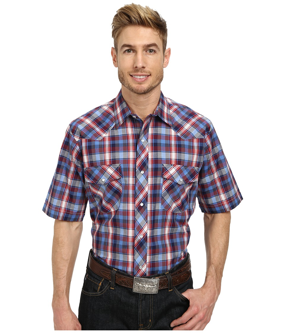 Roper - 9743 Blue Red Plaid with Blue Lurex (Blue) Men's Clothing
