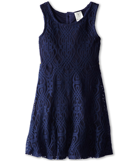 Ella Moss Girl - Chloe Mesh Dress (Big Kids) (Navy) Girl