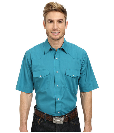 Roper - 9844C1 Solid Broadcloth (Green) Men's Clothing