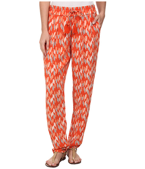 Lucky Brand - Printed Soft Pants (Orange Multi) Women's Casual Pants
