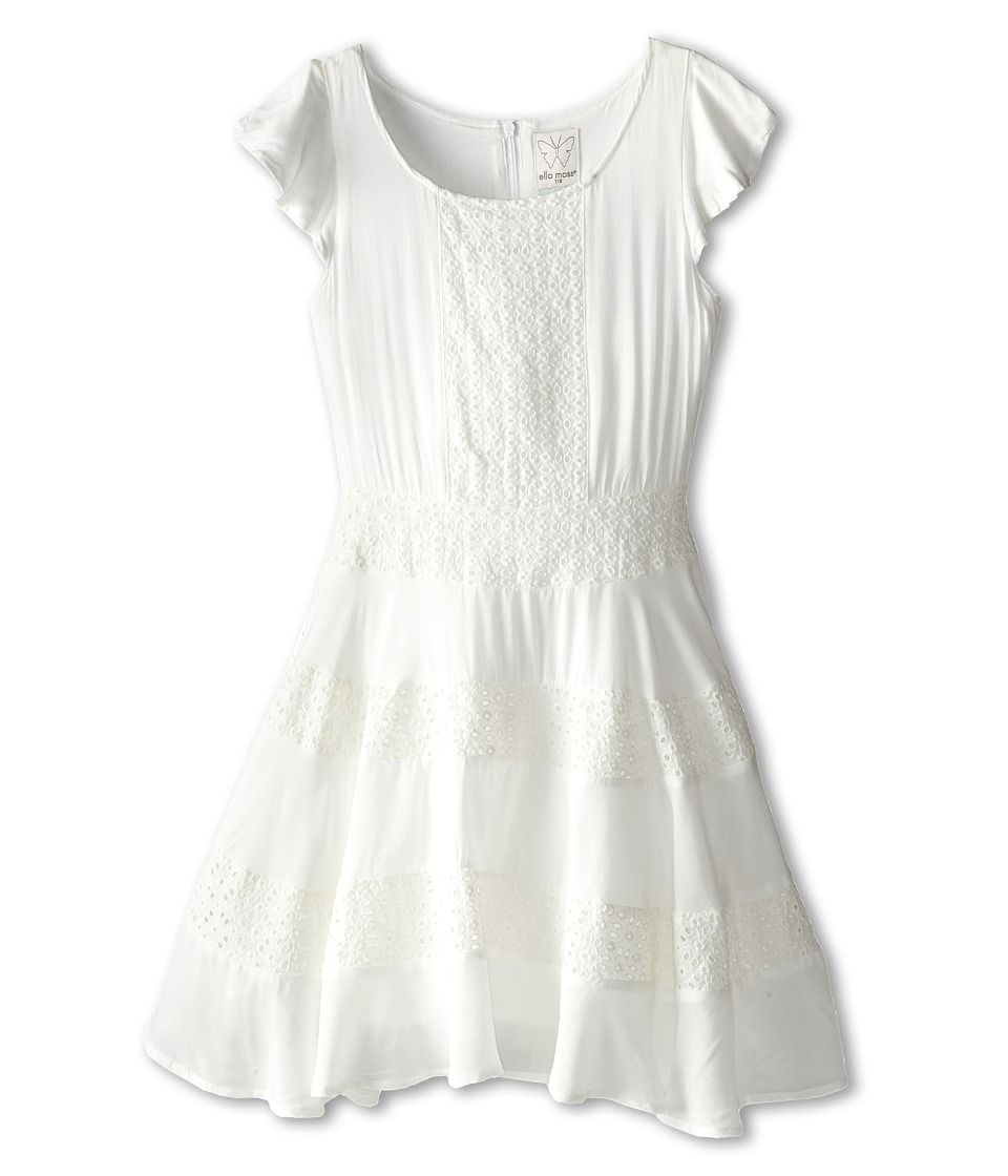 Ella Moss Girl - Ava Ruffle Sleeve Eyelet Dress (Big Kids) (White) Girl's Dress