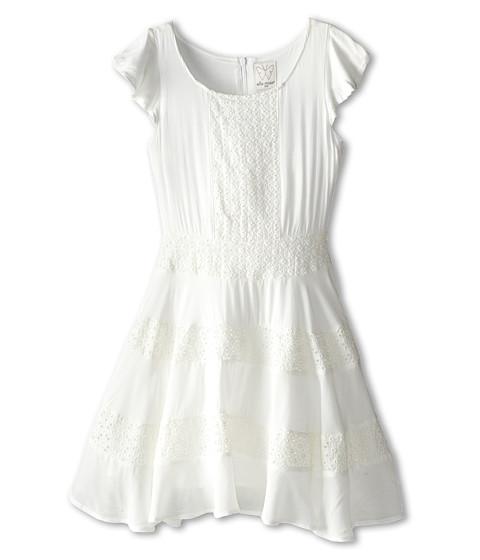 Ella Moss Girl - Ava Ruffle Sleeve Eyelet Dress (Big Kids) (White) Girl