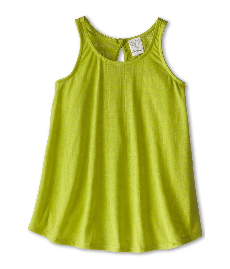 Ella Moss Girl - Zoe Geo Burn Out Top (Big Kids) (Lime) Girl's Clothing