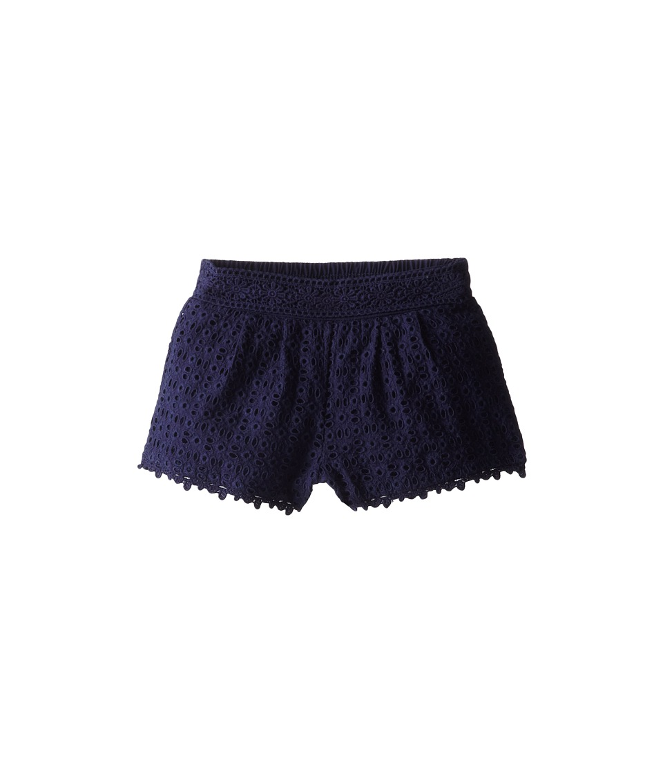 Ella Moss Girl - Ava Eyelet Shorts (Little Kids) (Navy) Girl's Shorts