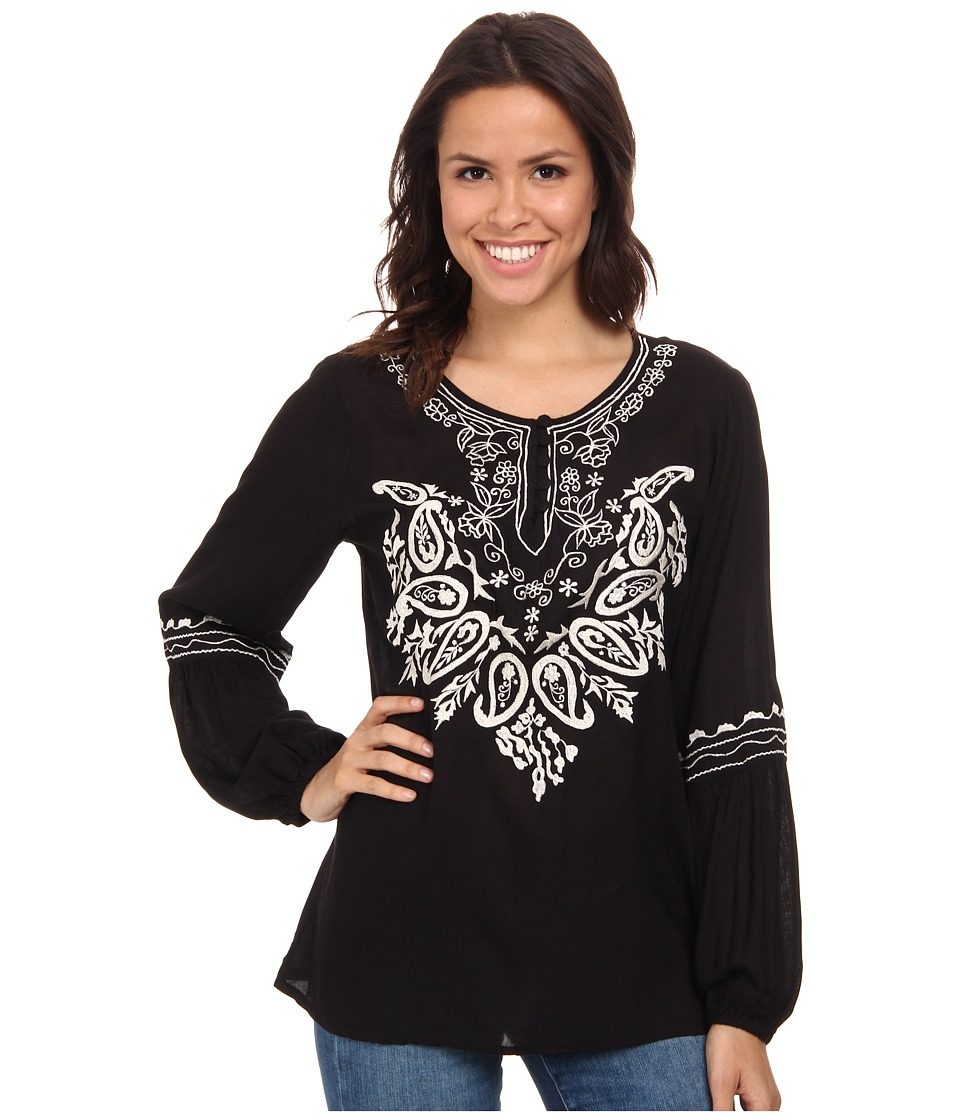 Scully - Gabriella Embroidered Top (Black) Women's Blouse