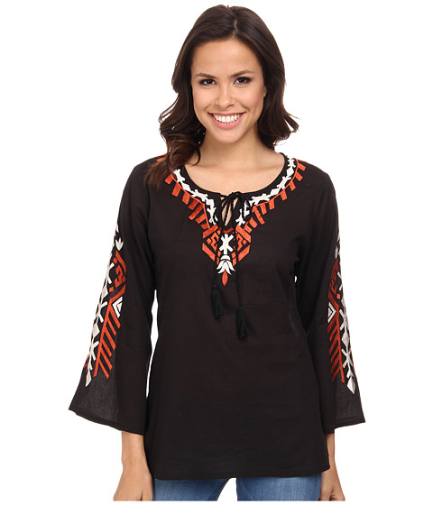 Scully - Luciana Embroidered Top (Black) Women's Clothing