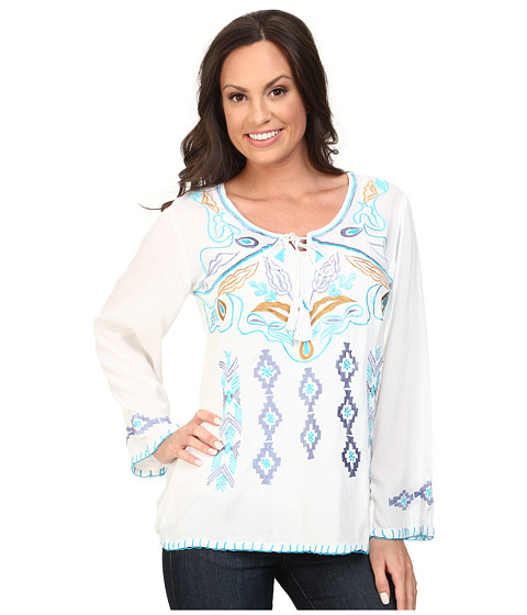 Scully - Daniela Embroidered Top (White) Women
