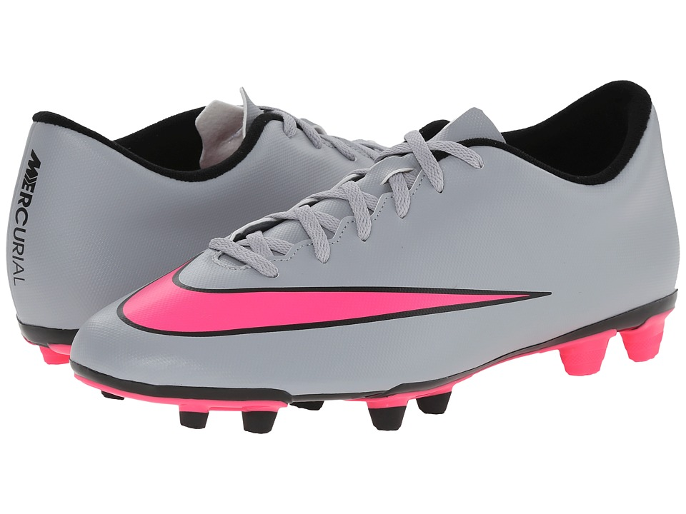 Nike - Mercurial Vortex II FG (Wolf Grey/Black/Hyper Pink) Men's Soccer Shoes
