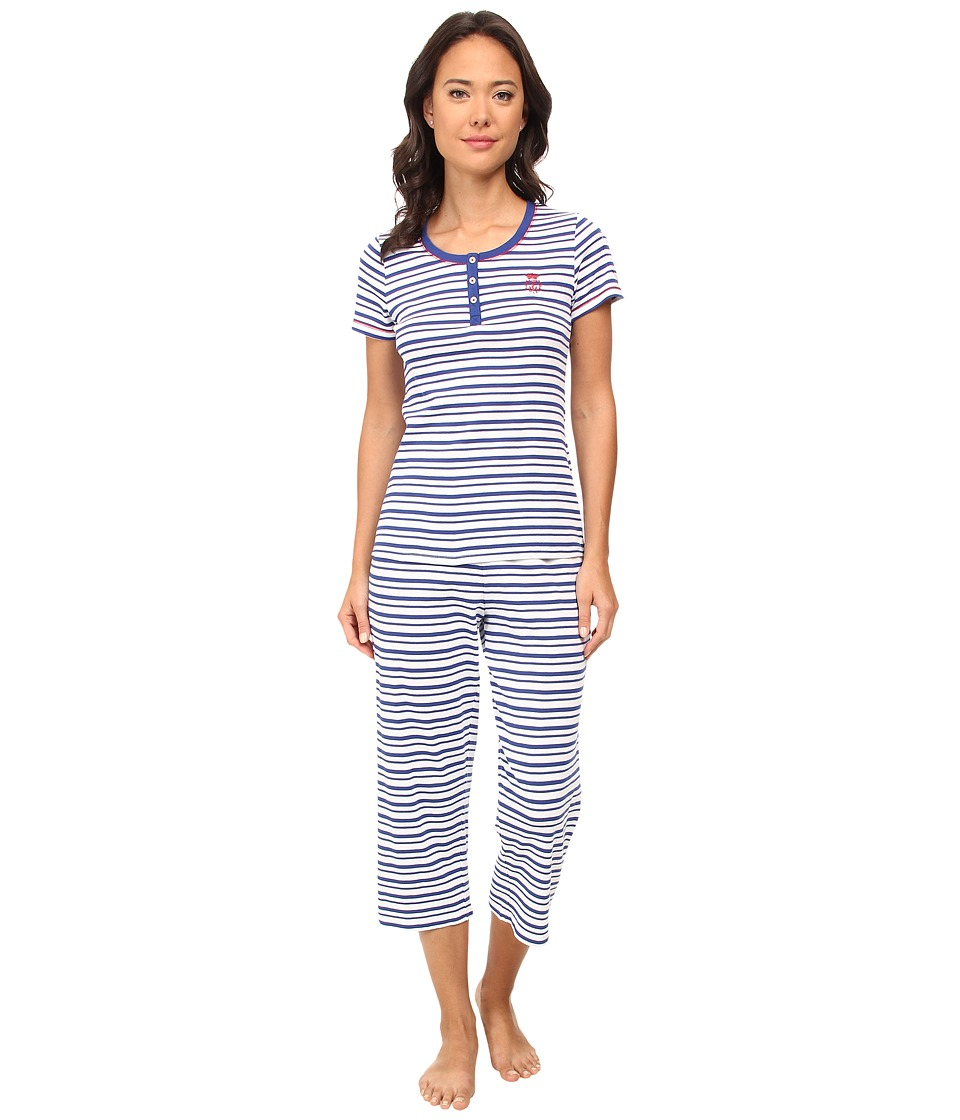 LAUREN by Ralph Lauren - Il Pellicano Short Sleeve Henley Capri PJ Set (Novella Stripe White/Marina Blue) Women's Pajama Sets
