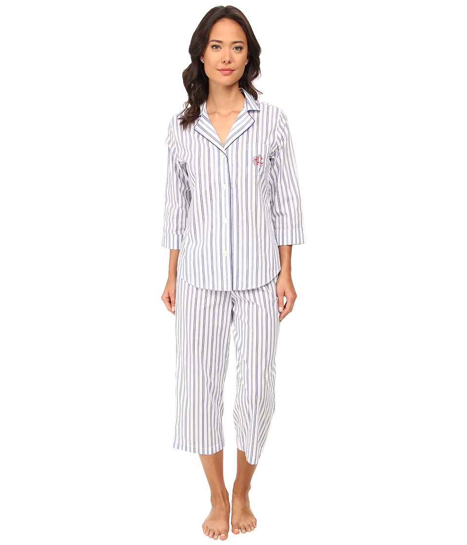 LAUREN by Ralph Lauren - Il Pellicano 3/4 Sleeve Notch Collar Capri PJ Set (Sorano Stripe White/Marina Blue) Women
