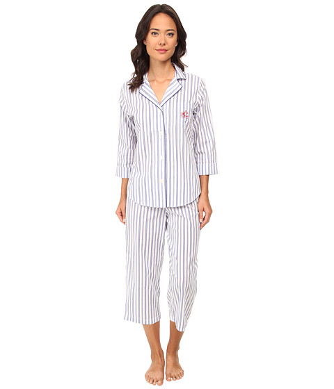 LAUREN by Ralph Lauren - Il Pellicano 3/4 Sleeve Notch Collar Capri PJ Set (Sorano Stripe White/Marina Blue) Women's Pajama Sets