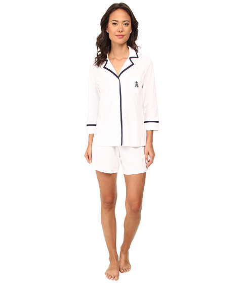 LAUREN by Ralph Lauren - Il Pellicano 3/4 Sleeve Notch Collar Boxer PJ Set (White W Capri Navy) Women's Pajama Sets
